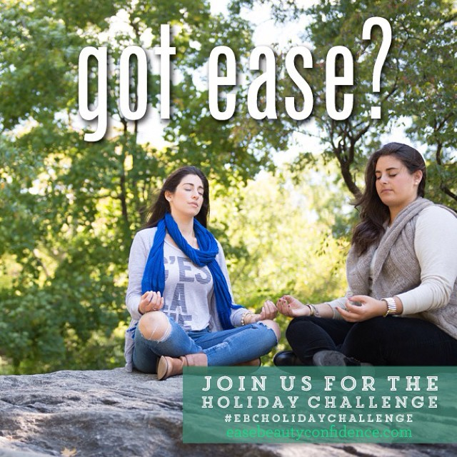 Got ease? The holidays are approaching and you may be concerned about the 18 kinds of pie that'll be there. One of the best ways to stay healthy and grounded around food is to feel calm and ease in your life instead of stress and overwhelm. During our free two week holiday challenge, we're gonna help you cultivate ease-filled days so you can approach the holiday season feeling centered, calm and relaxed. Sign up at easebeautyconfidence.com (link in profile)! #ebcholidaychallenge @alisonleipzig