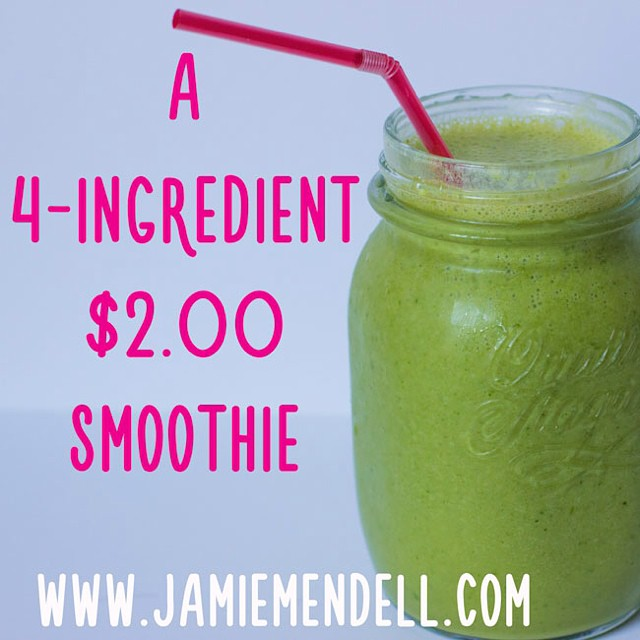 Up on the blog today...I have this smoothie almost every day and it just never gets old. I've tried lots of green smoothies before but none of them are as satisfying as this one for me. Give it a shot!! What's your fav kinda smoothie? Happy Wednesday! ?? recipe at <<www.jamiemendell.com>>