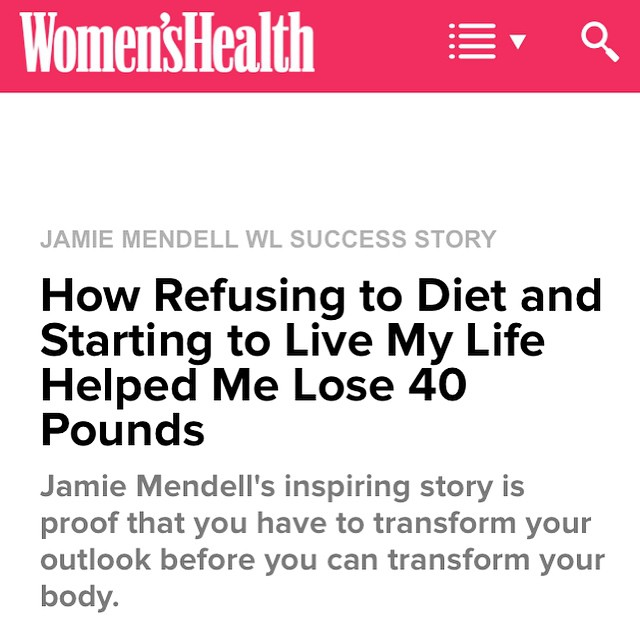 Check out my article now up on Women's Health. I strongly believe that the real way to lose weight permanently is through a total mindset shift around how you view yourself, your body, food and your life in general. In this article I talk about the deep changes I made that had the biggest impact. If you're struggling with weight and find yourself sick of diets, feeling lost and hopeless, I hope this article helps you by showing you that there's another way. ❤️